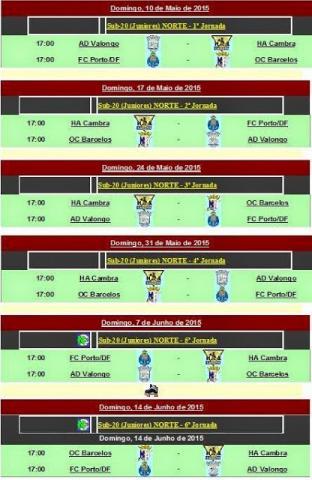 Calendário da 2ª fase do nacional de juniores - OC Barcelos presente